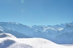 panorama chaîne du Mont Blanc depuis route Joux Plane